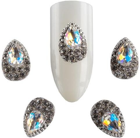 Брошь для дизайна ногтей St-E01, 2 шт - F.O.X Brooch №1 Stone Ellipse