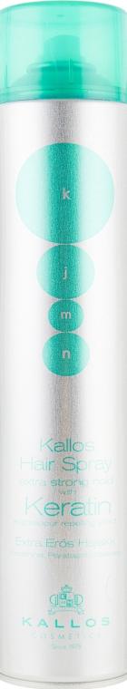Kallos Cosmetics Hair Spray Extra Strong Hold With Keratin and vapour repelling effect - Лак-спрей для волос экстрасильной фиксации с кератином и протеинами шелка: купить по лучшей цене в Украине | Makeup.ua