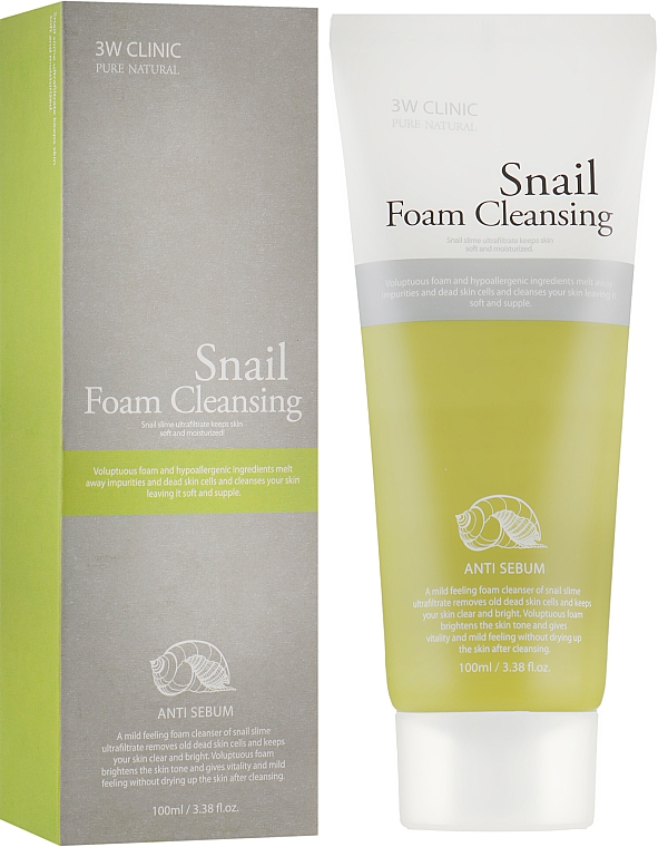 Пенка для умывания - 3W Clinic Snail Foam Cleansing