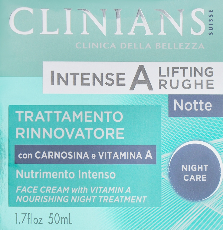 Крем для лица ночной питательный с карнизолом и витамином А - Clinians HCT Intense A