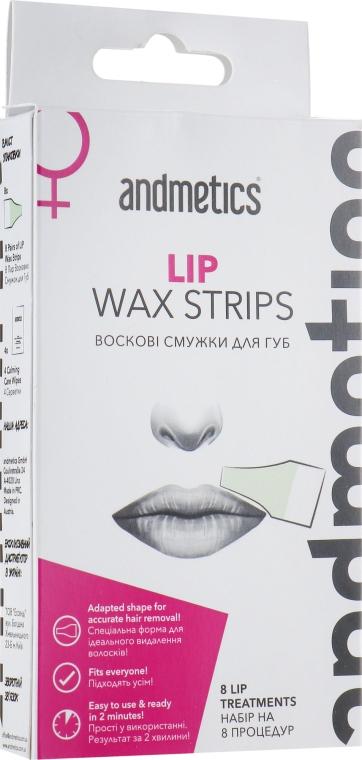 Восковые полоски для губ - Andmetics Lip Wax Strips Women (strips/8x2pc + wipes/4pc)