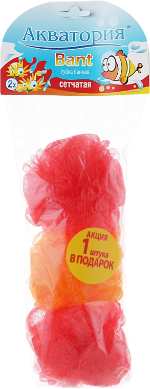 "Губка банная сетчатая ""Bant"", красная + оранжевая + красная - Акватория"