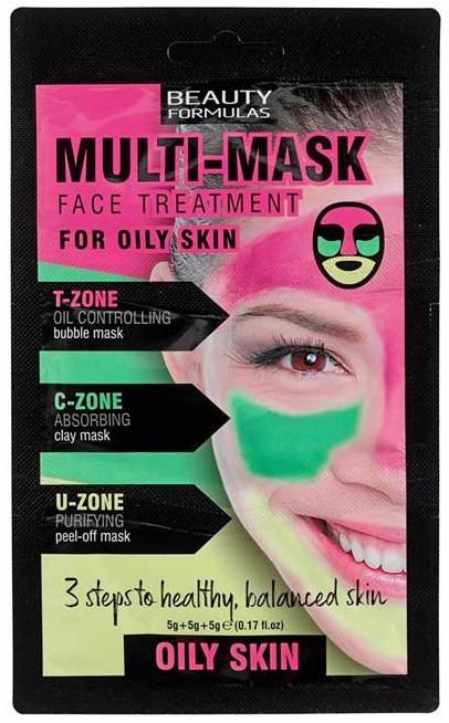 Маска для жирной кожи лица - Beauty Formulas 3-Step Multi Mask Face Treatment Oily Skin