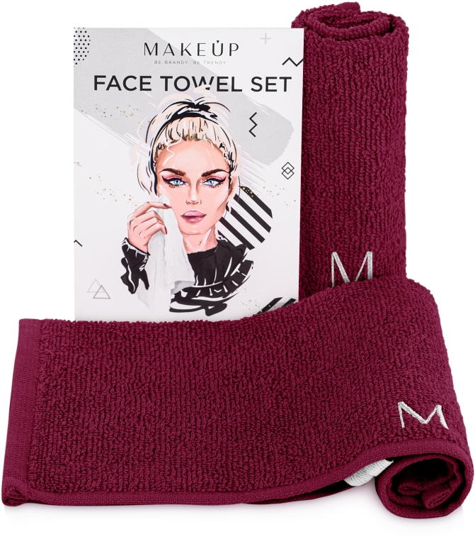 """Дорожный набор полотенец для лица, бордовые """"MakeTravel"""" - Makeup Face Towel Set"""