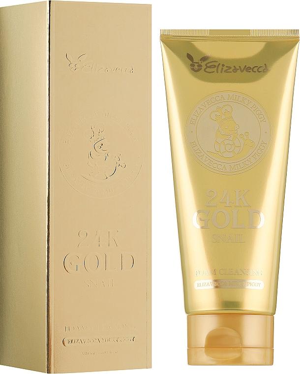 Очищающая пенка с муцином улитки и 24К золотом - Elizavecca Face Care 24k gold snail Cleansing Foam