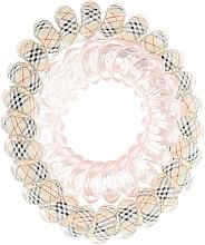 Духи, Парфюмерия, косметика Резинки для волос, 414562, бежевая клетка + прозрачно-розовая - Glamour