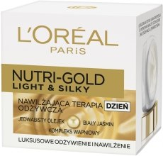 Духи, Парфюмерия, косметика Увлажняющий дневной крем для сухой кожи - L'Oreal Paris Nutri Gold Light & Silky Day Cream