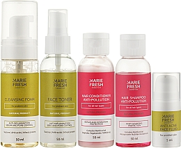 Парфумерія, косметика Набір для проблемної шкіри - Marie Fresh Cosmetics Travel Set (f/foam/50ml + f/ton/50ml + h/shm/50ml + h/cond/50ml + f/fluid/5ml)