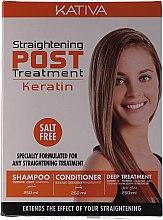 Духи, Парфюмерия, косметика УЦЕНКА Набор - Kativa Straightening Post Treatment Keratin (shm/250ml + cond/250ml + mask/250ml) *