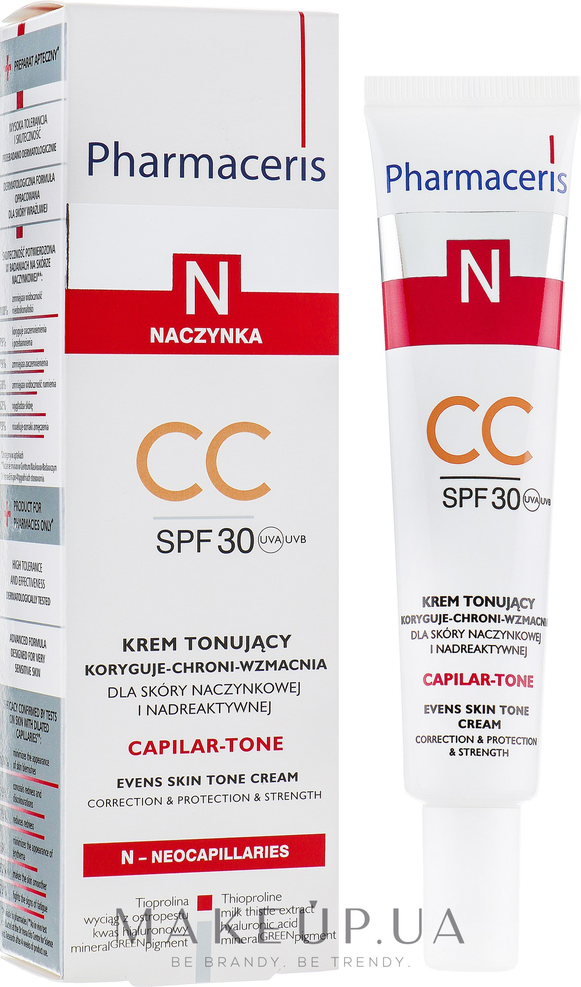 Крем для чувствительной кожи лица - Pharmaceris N Capilar-tone CC Cream SPF 30 — фото 40ml