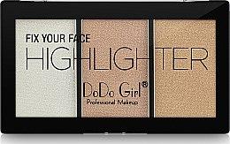 Духи, Парфюмерия, косметика Палетка хайлайтеров - DoDo Girl Fix Your Face Highlighter