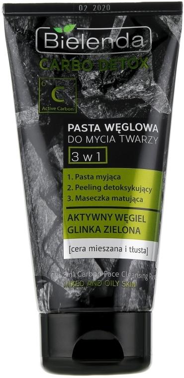 Угольная паста для умывания 3 в 1 - Bielenda Carbo Detox Paste