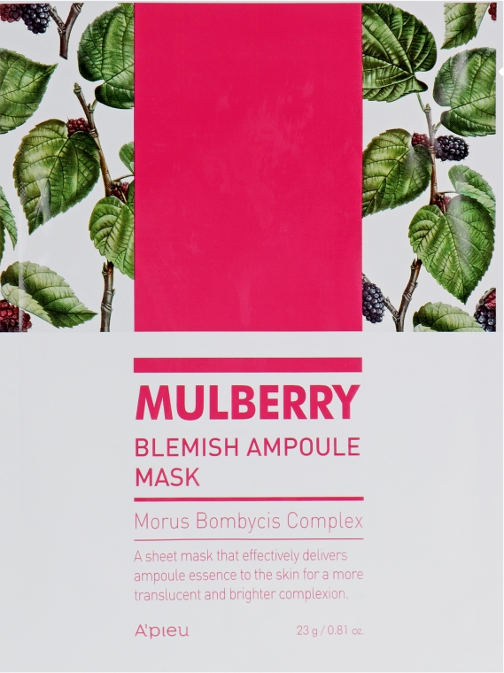 Тканевая маска для лица - A'pieu Mulberry Blemish Ampoule Mask