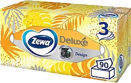 Духи, Парфюмерия, косметика Салфетки косметические трехслойные, желтая упаковка с листьями, 90шт - Zewa Deluxe