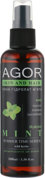 "Тоник ""Гидролат мяты"" - Agor Summer Time Skin And Hair Tonic"