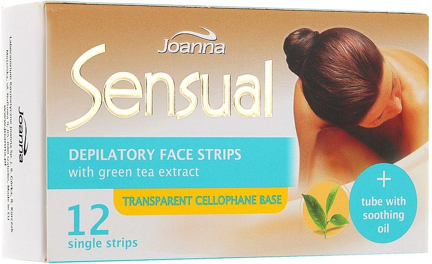 Пластырь с воском для депиляции лица с зеленым чаем - Joanna Sensual Depilatory Face Strips