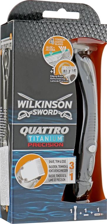 Станок + 1 сменный картридж - Wilkinson Sword Quattro Titanium Precision