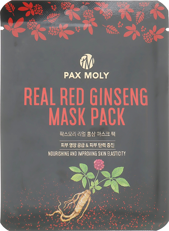 Маска тканевая с экстрактом красного женьшеня - Pax Moly Real Red Ginseng Mask Pack