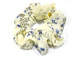 Духи, Парфюмерия, косметика Резинка для волос P0167-3, 11 см, молочная в цветочный принт - Akcent
