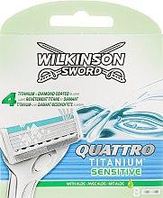 Духи, Парфюмерия, косметика Набор сменных лезвий, 8 шт - Wilkinson Sword Quattro Titanium Sensitive