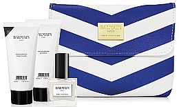 Духи, Парфюмерия, косметика Набор - Balmain White&Blue Spring/Summer 18 (shm/50ml + cond50ml + n/polish/9.5ml + bag)