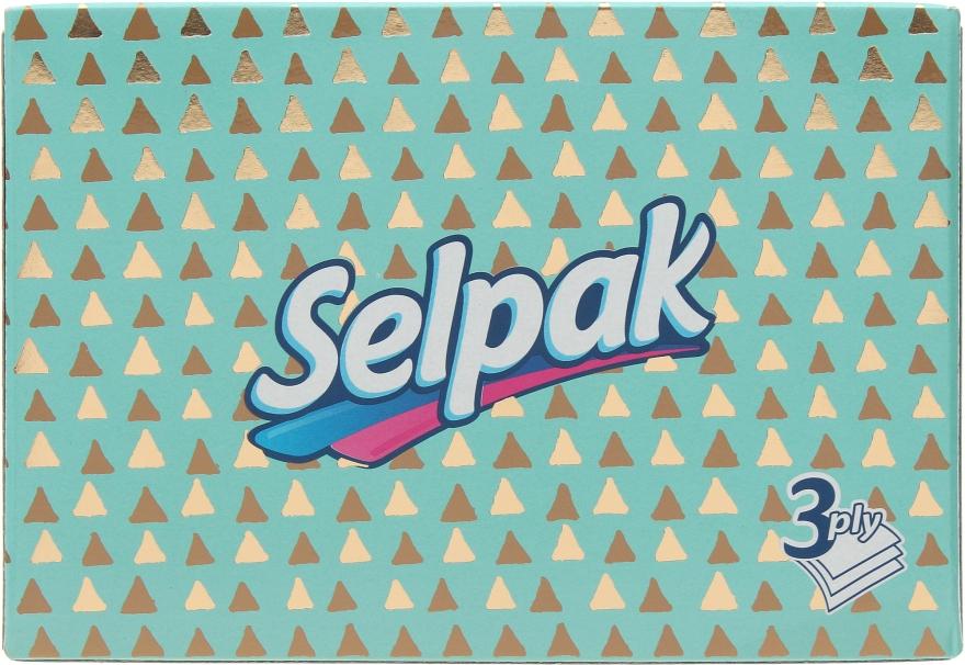 Гигиенические салфетки трехслойные, бирюзовая упаковка с треугольниками - Selpak