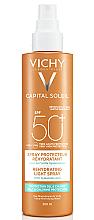 Парфумерія, косметика Сонцезахисний водостійкий спрей з гіалуроновою кислотою, SPF 50+ - Vichy Capital Soleil Beach Protect Anti-Dehydration Spray SPF 50