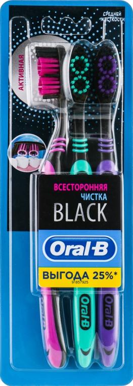 """Набор зубных щеток, """"Всесторонняя чистка"""", малиновая + зеленая + фиолетовая - Oral-B Black Medium"""
