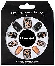 Духи, Парфюмерия, косметика Набор искусственных ногтей, черный с оранжевым - Donegal Express Your Beauty