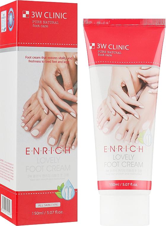 Восстанавливающий крем для ног с гиалуроновой кислотой - 3W Clinic Enrich Lovely Foot Treatment