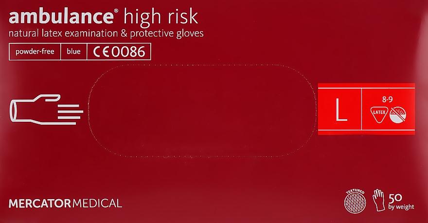 Перчатки латексные, нестерильные, неприпудренные, размер L - Mercator Medical Amblance High Risk