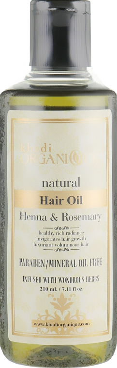 "Натуральное аюрведическое масло для волос ""Хна и Розмарин"" - Khadi Organique Henna Rosemary Hair Oil Without Mineral Oil"