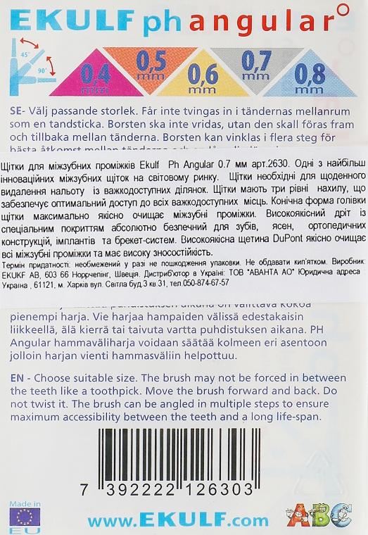 Щітки для міжзубних проміжків, 0.7 мм - Ekulf Ph Angular — фото N2