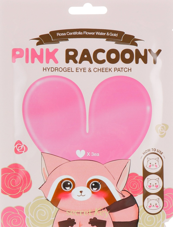Гидрогелевые патчи для глаз и скул - Secret Key Pink Racoony Hydro-Gel Eye & Cheek Patch