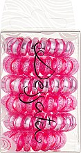 Духи, Парфюмерия, косметика Набор резинок для волос - Dessata No-Pulling Hair Ties Glitter+Metal Fuchsia