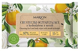 Духи, Парфюмерия, косметика Очищающие салфетки для лица и тела с гидролатом нероли, 15 шт. - Marion