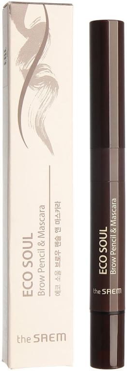 Тушь-карандаш для бровей - The Saem Eco Soul Brow Pencil & Mascara