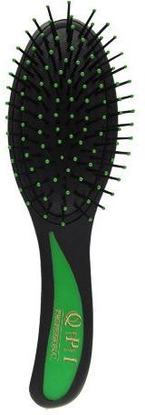 Расческа массажная, РМ-8581, черная с зеленой ручкой 21 см - QPI