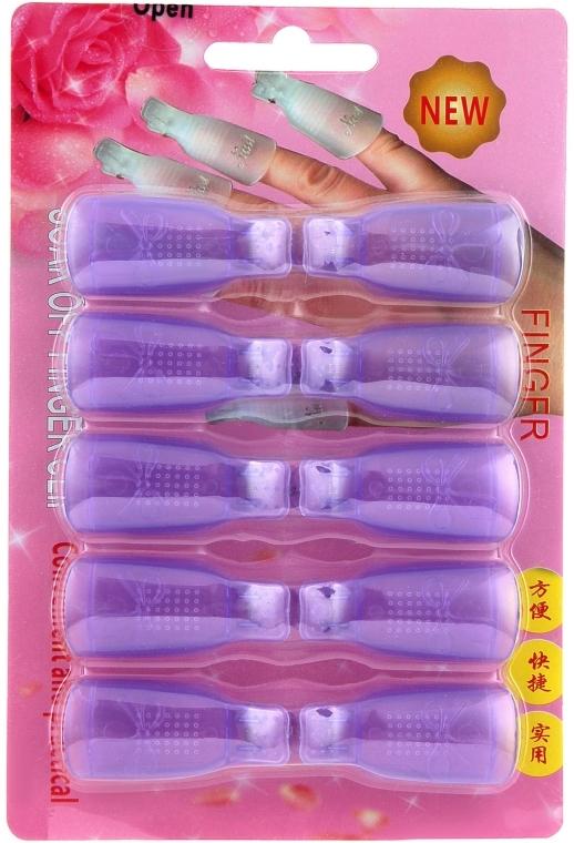 Клипсы пластиковые для снятия гель-лака, фиолетовые - Nails Molekula