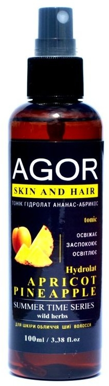 "Тоник ""Гидролат абрикос-ананас"" - Agor Summer Time Skin And Hair Tonic"