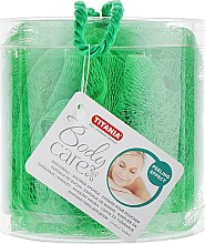 Парфумерія, косметика Мочалка банна із синтетечних матеріалів, в коробці, зелена - Titania