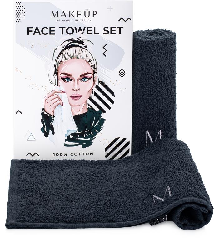 """Дорожный набор полотенец для лица, черные """"MakeTravel"""" - Makeup Face Towel Set"""