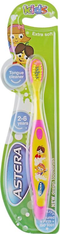 "Зубная щетка ""Kids"", желто-розовая - Astera Extra Soft"