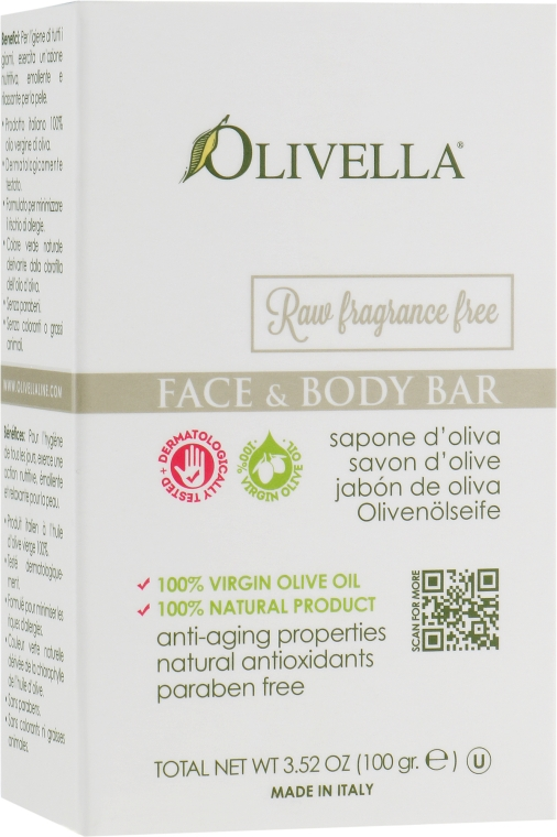 Мыло для лица и тела на основе оливкового масла, без запаха - Olivella Face & Body Soap Olive