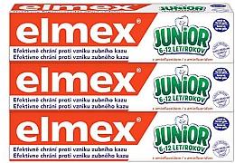 Духи, Парфюмерия, косметика Набор - Elmex Junior Toothpaste Set (3xtoothpaste/75ml)