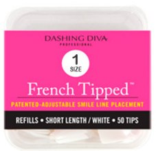 "Духи, Парфюмерия, косметика Типсы короткие ""Френч"" - Dashing Diva French Tipped Short White 50 Tips (Size-1)"