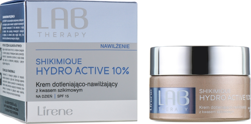 Кислородный увлажняющий дневной крем для лица - Lirene Lab Therapy Moisture Shikimique Hydro Active 10% Cream SPF15