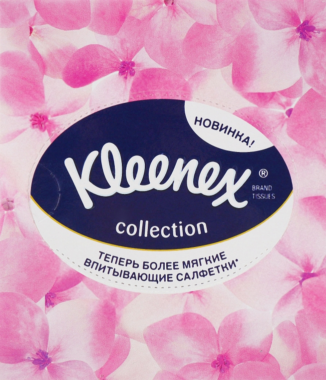"""Салфетки в коробке """"Collection"""", 100 шт., розовые цветы - Kleenex"""