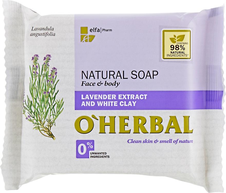 Натуральное мыло с экстрактом лаванды и белой глиной - O'Herbal Soap