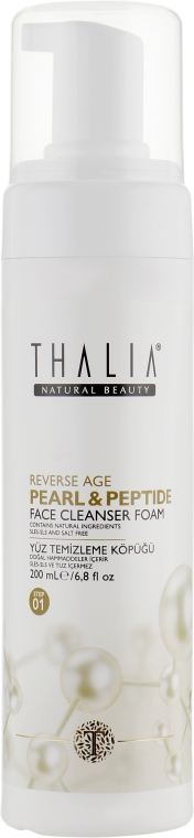 Очищающая антивозрастная пенка для умывания с пептидами и гиалуроновой кислотой - Thalia Pearl&Peptide Face Cleanser Foam